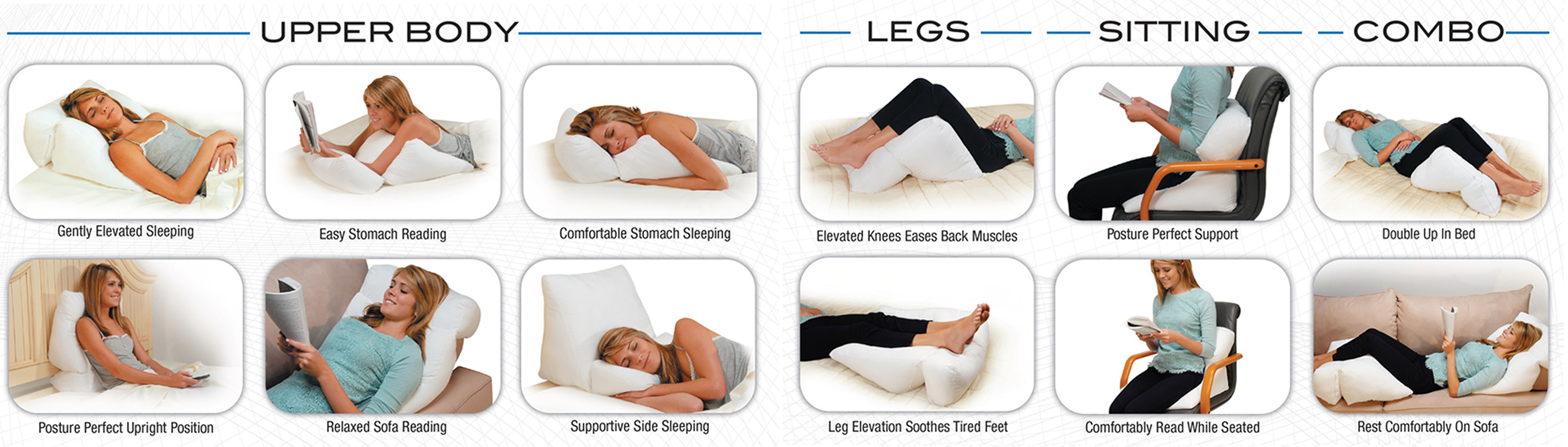 10 positions with 1 pillow